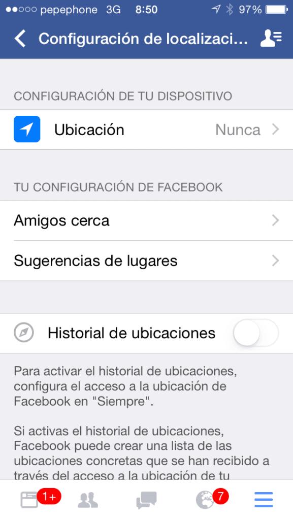 como cambiar ajustes ubicacion Facebook iOs