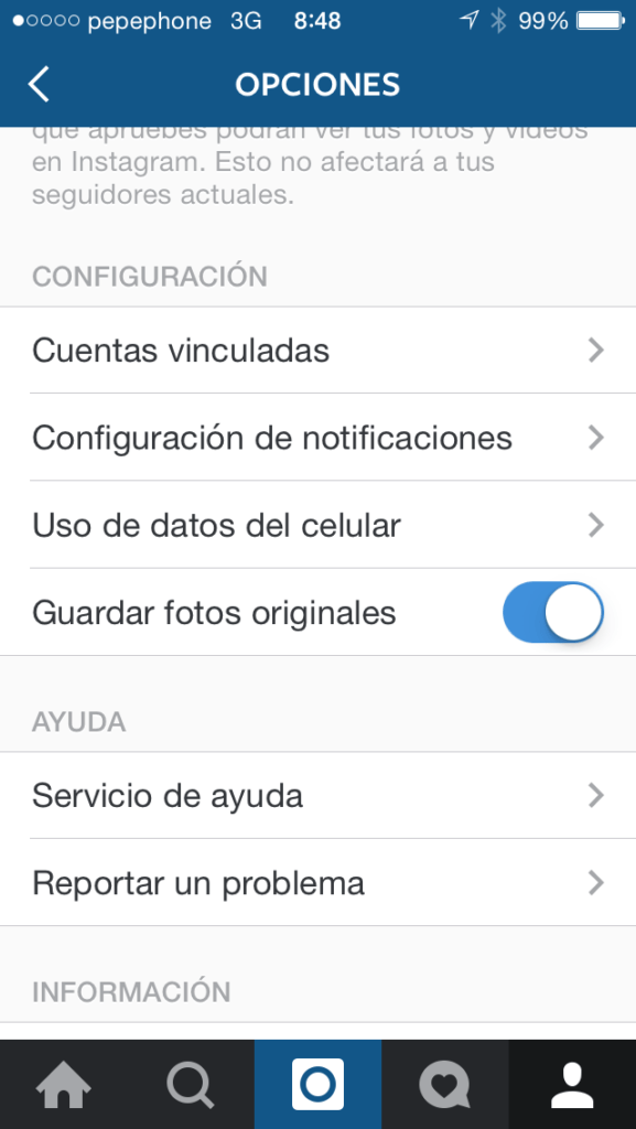 ahorrar datos instagram ios